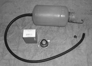 Installation supplies - tank, hose, clamp, pressure cap & NAPA box